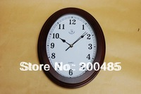 hot sale hotel decor hall oval wooden wall clock