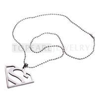 Topearl Jewelry Superman Pendant The Man of Steel Superhero Steel Necklace MEN44