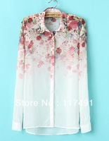 2013 Spring and Autumn new fashion women's brand designer BLOUSE ladies' popular stylish SHIRT vintage Floral printed TOP ft138