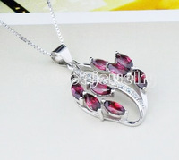 Garnet pendant Free shipping Necklace pendant Natural garnet 925 sterling silver Women's jewerly Red leaves style Retail
