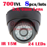 Free Shipping to RU! 2013 Low Illumination  Indoor Dome CMOS 700TVL security CCTV Camera, 8pcs/lots
