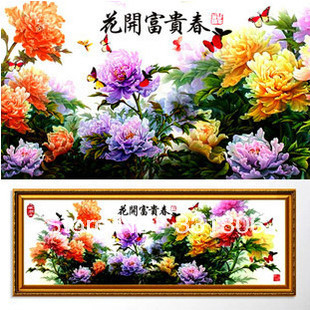 free shipping special offer chinese cross switch kit The peony roses The sitting room mural(China (Mainland))