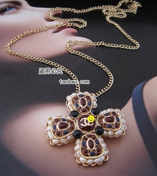 Beautiful fashion multicolour gem crucifer 2 used necklace brooch long-chain alloy necklace 65cm