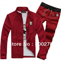 Free shipping 2013 New Mens Stand collar Sweatshirts+Pants Sport suit spring tracksuit Embroidery badge 5Color SIZE M-XXXL G71