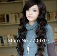Top Sale free shipping beatiful hair extenison Stylish Long Women Healthy Natural Hair Wave Curly Full Cosplay Wigs
