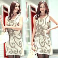 Free Shipping fashion dresses women  europe ummer phoeni beige paillette elegant  fashion clothes organza dress LM8616