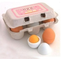 1set/lot  Wooden 6pcs Eggs Yolk Pretend Play Kitchen Game Food Cooking Children Kid Toys Gift