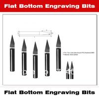 10pcs/lot Solid Carbide Flat Bottom Engraving Bits 5 Degree 0.05-0.5*4*40mm   V Shape Cutters Free Shipping