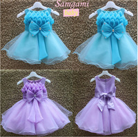 1pc Retail New 2014 summer flower girl dress, princess dress, sleeveless, fashion big bow wedding dresses,blue / purple