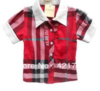 Free shipping 1piece Girls big red plaid cotton short sleeve shirt