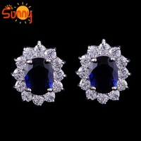 AAAJewelry  Blue sapphire  18GP white gold  stunds Earrings for gift  1pair