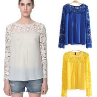 2013 Female Summer Fashion Crocheted Knitted Patchwork Blouse, Stylish Sexy Cutout Lace Shirt