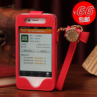 Free shipping Luxury leather case for iphone4s phone shell genuine leather protective shell accessories