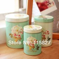 Free Shipping! 3pcs/lot Europea Style Rose Design Cookie Creative Storage Case Tin Box Set  metal case