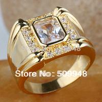 Men 4-claw Oblong Cut White Topaz Black Onyx Blue Sapphire  Ring R128 GFLM Size 10 11 13 J8178 fashion jewelry