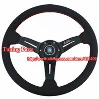 Uniersal Auto Parts Real Leather Racing Car Steering Wheel 350mm Diameter