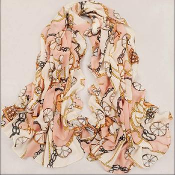 New Arrival 2015 Silk Scarf Women Fashion Vintage Carriage Velvet Design Chiffon Long Scarves Pashmina High Quality Wholesale