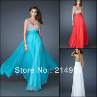 Free Shipping White Sexy V-neck Beading Crystals Straps Chiffon Formal Evening Party Homecoming Dress Prom Gown 2014