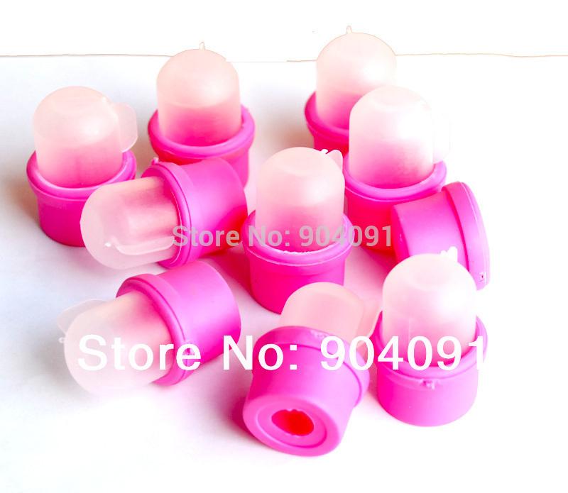 10pcs/lot Wearable Salon Acrylic Nail Polish Remover Soak Soakers Cap Tool Pink UV Gel Free Shipping(China (Mainland))