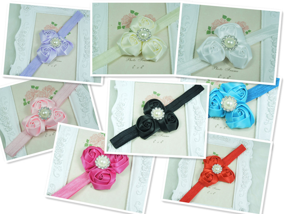 Chic satin rolled rosette ribbon rose flower with pearl button on