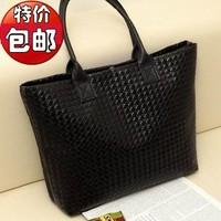 New 2014 Solid Black Knit plaid Women Big handbag Fashion Casual Single Shoulder Bag