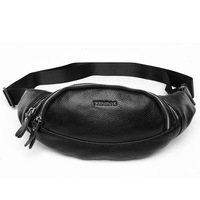 TIDING  Mobile Phone Holder For Running Stylish Fanny Pack  Soft Genuine Leather Waist Bag For Man 3092