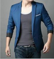 2015 New Fashion Men's Casual Plus Size Slim Fit Blazer Male One-button Suits Outerwear Black Blue Jacket Suit S-4XL Hot Sale