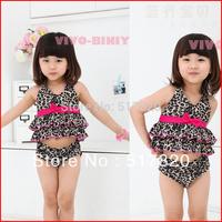 Free shipping New arrival 2014 child swimwear leopard print bikini girls beachwear child swimwear baby swimwear split