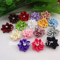 40pcs fancy ribbon flower w/sotne appliques/wedding/craft DIY mix color AP004
