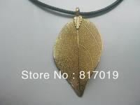 fashion natural leaf pendant with 24k gold coating 3g