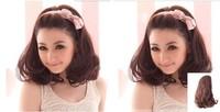 Women's Curly Synthetic Hair Half Wig1/2 Head Body Wavy Clip Reversible Hair Wig,Black Bown Pear Flowery U Part Wig