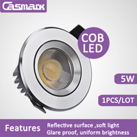 Free shipping (1pcs/lot)  85-265vac led light COB 5w recessed led ceiling spotlight led lamp led spot wall light