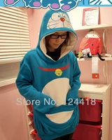 Free Shipping New Doraemon Hoodies Sweater Outwear Fleece Thick Cosplay Costumes