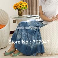 Free shipping Bohemia skirt print denim skirt jeans skirt long 2014 women's denim long skirt