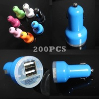 5V 2.1A 2 Port Dual USB Car Charger Adapter for iPhone 5 4 4S 3G 3GS iPad iPod 200pcs/lot DHL Free Shipping