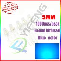 Free shipping 1000pcs 5MM Transparent Round LED Blue Light Colour LED light emitting diode / F5mm Blue LED Colour