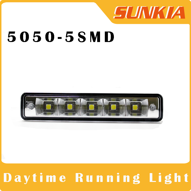 Free shipping New 2PCS Super White 5 LED 5W Universal Car Light Daytime Running auto lamp DRL Auxiliary light in the day(China (Mainland))