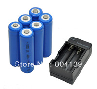 New 6 piece 3.7V 2200mAh 14500 ICR14500 lithium AA Rechargeable Battery with charger For Ultrafire LED Torch
