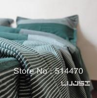 Hot selling 2013 New coarse cotton stripe plaid Princess  pink bedding sets 4pcs Free-EMS