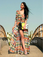 1 pcs Multi-Color Bohemian Chiffon Long Dress Long-sleeved Dress