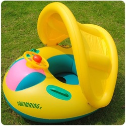 Inflatable Toddler Baby Swim Ring Float Seat Swimming Pool Water Seat with Shade Cover XY0014(China (Mainland))