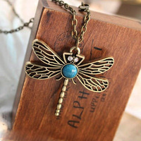 European and American Retro Hollow Vintage Turquoise Dragonfly Pendent Necklace, free shipping ! !