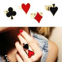 Hold'em Spades Love Flower Metal Ring Finger Rings 063