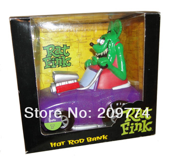 FUNKO GREEN Rat Fink in Purple glitter Hot Rod Bank FIGURE