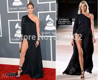 2013 55th New Model Grammy Awards Red Carpet Celebrity Chiffon Side Slit Jennifer Lopez Black Evening Dress