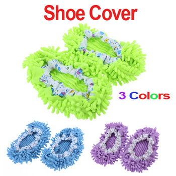 6 pairs/lot  Chenille Mopping Shoecovers Floor Dust Cleaner Cleaning Lazy Slippers 3 Colors