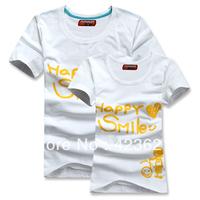 New Style High Quality  Cotton Happy Smile Couple T-shirt 2pcs/PAIR  T-Shirt Women/Men/Lover/Couple