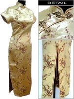 Gold Traditional Chinese Dress Women's Satin Long Cheongsam Qipao Clothing Flower Plus Size S M L XL XXL XXXL 4XL 5XL 6XL J3081