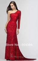 Gold silver red sequins beaded one shoulder long sleeves sexy sequins prom dresses one sleeve evening dresses