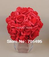 8''  20cm Artifiical Kissing Foam Rose Flower Ball Wedding Centerpiece Decorative Flowers & Wreaths 12pcs/lot Free Shipping